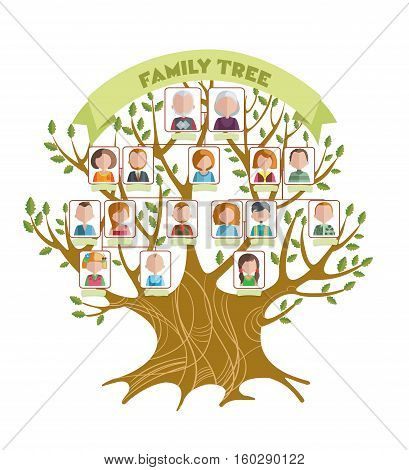 Concept of family tree with green ribbon and pictures of relatives on branches with leaves vector illustration