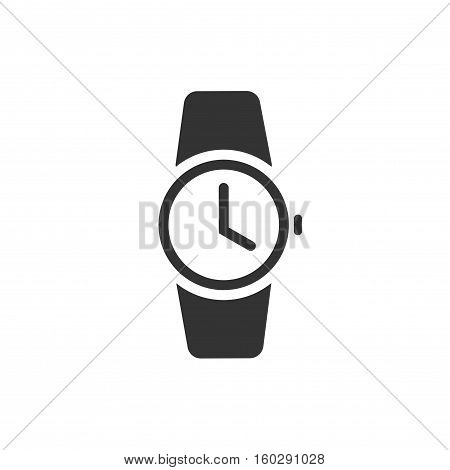 Watch icon vector illustration isolated on white background, black wristwatch pictogram symbol, clock monochrome icon