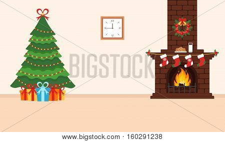 Festive design of the room. Brick fireplace Christmas wreath milk and cookies for Santa festive decorated tree and gifts. Illustration.Merry Christmas and Happy New year. Vector.