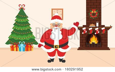 Festive design of the room. Brick fireplace Christmas wreath milk and cookies for cute Santa festive decorated tree and gifts. Illustration.Merry Christmas and Happy New year. Vector.