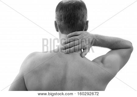 Pain in the neck. Man with backache. Muscular male body. Isolated on white background red dot