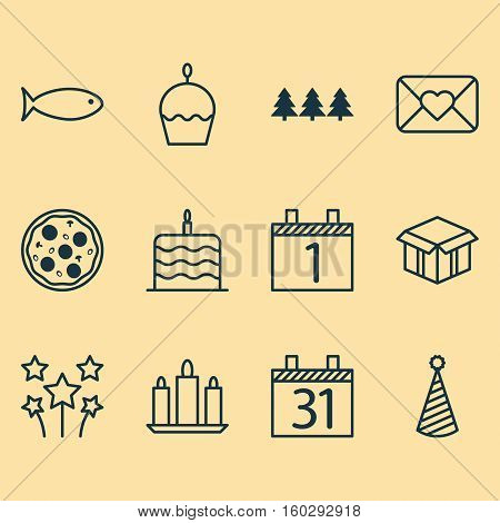 Set Of 12 Holiday Icons. Can Be Used For Web, Mobile, UI And Infographic Design. Includes Elements Such As Calendar, Envelope, Agenda And More.