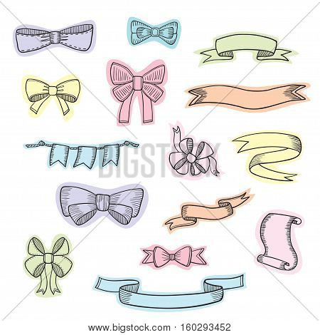 Doodle style banner, sketch ribbons and bows on white background.
