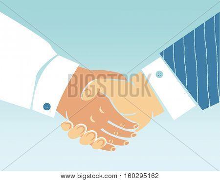 Close up handshake business agreement.