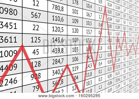Table with a lot of numerical data and red graph line. Business information and statistics