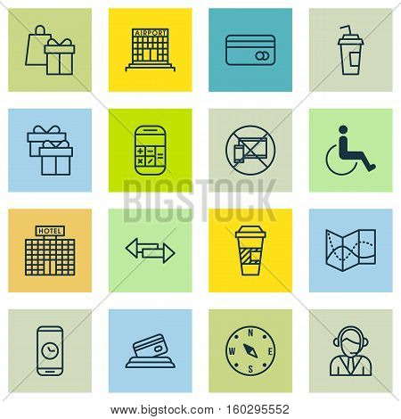 Set Of 16 Traveling Icons. Can Be Used For Web, Mobile, UI And Infographic Design. Includes Elements Such As Office, Gift, Locate And More.