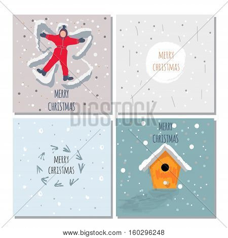 Set of cute Christmas cards. Contains hand drawn elements by brush, text, dots, snowflakes. Vector
