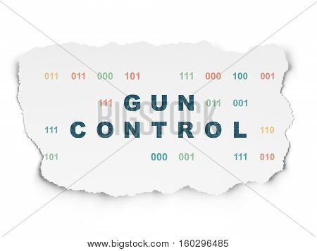 Protection concept: Painted blue text Gun Control on Torn Paper background with  Binary Code