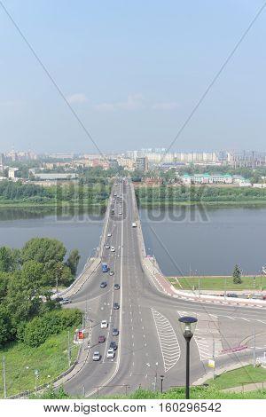 Nizhny Novgorod, Russia. - July 28.2016. View from the high bank on Kanavinsky bridge across the Oka River