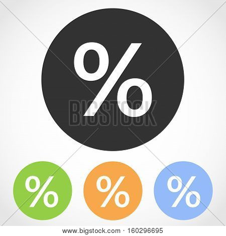 Percent mark icons - vector illustration. Set of flat icons the percent in four color versions.
