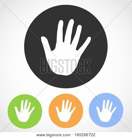 Hand print on the round button. Vector illustration. Set of flat icons the of human hand print in four color versions