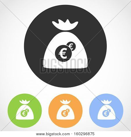 Money bag icon on the round button. Vector illustration. Set of flat icons the of money bag in four color versions.