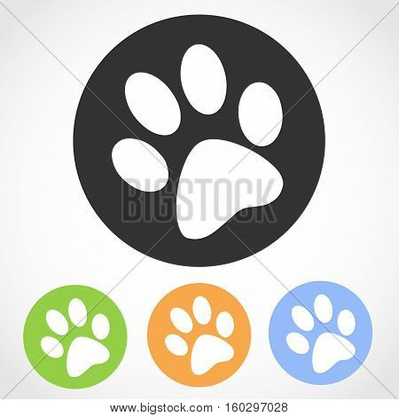 Animal footprint icon on the round button. Vector illustration. Set of flat icons the of animal footprint in four color versions.
