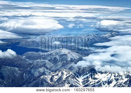 Air view of Southern Alps in New Zealand. Photo taken from airplane before landing to Christchurch, New Zealand