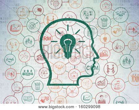 Finance concept: Painted green Head With Lightbulb icon on Digital Data Paper background with Scheme Of Hand Drawn Business Icons