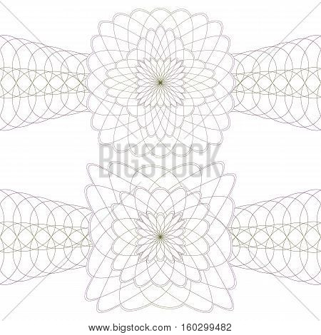Guilloche Rosettes with a Borders on a White Background.