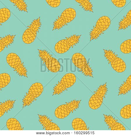 Modern stylized pineaples seamless pattern. For fabric textile, print design