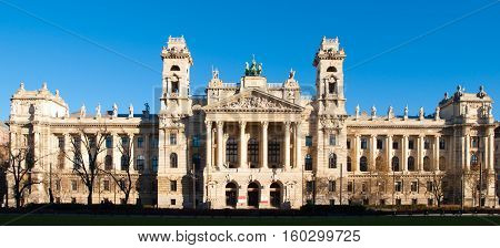 Hungarian National Museum of Ethnography, aka Neprajzi Muzeum, at Kossuth Lajos Square in Budapest, Hungary, Europe. Front view of entrance portal with two towers and architectural columns on sunny day with clear blue sky. UNESCO World Heritage Site.