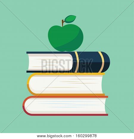 School book apple education flat logo icon vector stock