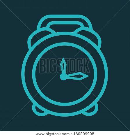 Blue clock retro icon time isolated symbol vector stock