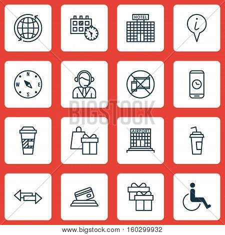 Set Of 16 Travel Icons. Can Be Used For Web, Mobile, UI And Infographic Design. Includes Elements Such As Device, Info, Locate And More.