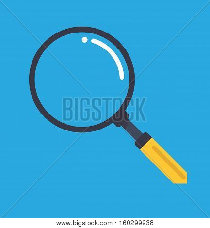 Magnifying glass zoom flat blue background symbol logo icon vector stock