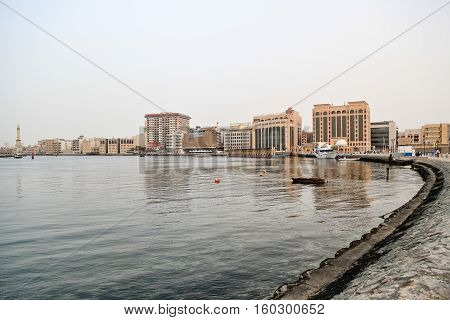 Photo taken on 22. april 2012 at 18:20pm. Dubai Bur Dubai Creek. Buildings at the background - Ministry of Finance HSBC Mashreq Bank