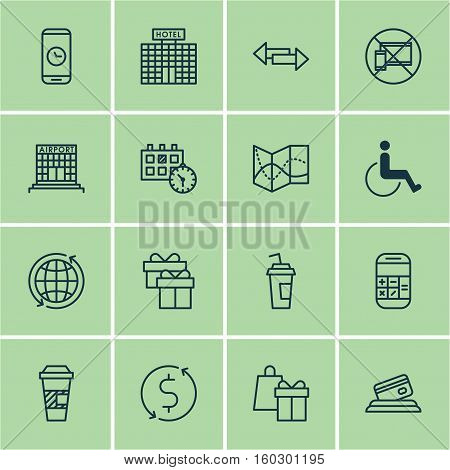 Set Of 16 Airport Icons. Can Be Used For Web, Mobile, UI And Infographic Design. Includes Elements Such As Phone, Direction, Paralyzed And More.