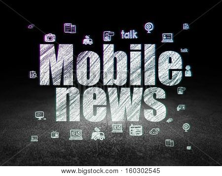 News concept: Glowing text Mobile News,  Hand Drawn News Icons in grunge dark room with Dirty Floor, black background