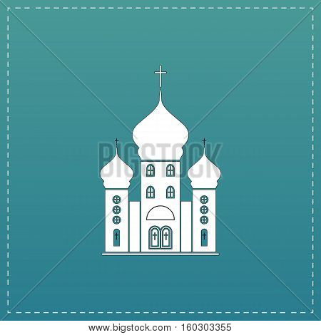 Church. White flat icon with black stroke on blue background