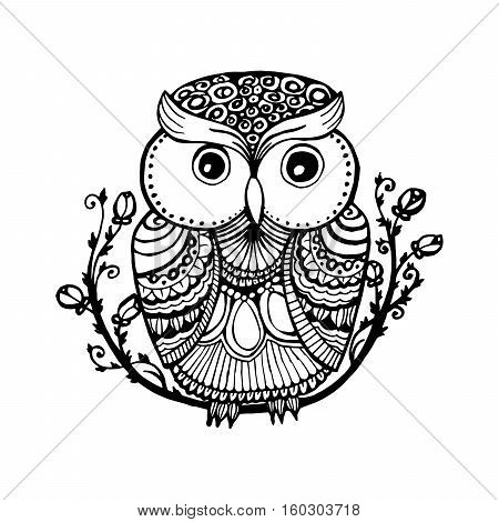 Zentangle style owl. Isolated illustration with ornanets fill for adult coloring book page design, antistress ink drawing or fashion t-shirt print