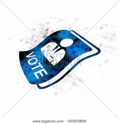 Politics concept: Pixelated blue Ballot icon on Digital background