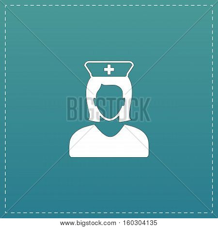 Nurse. White flat icon with black stroke on blue background