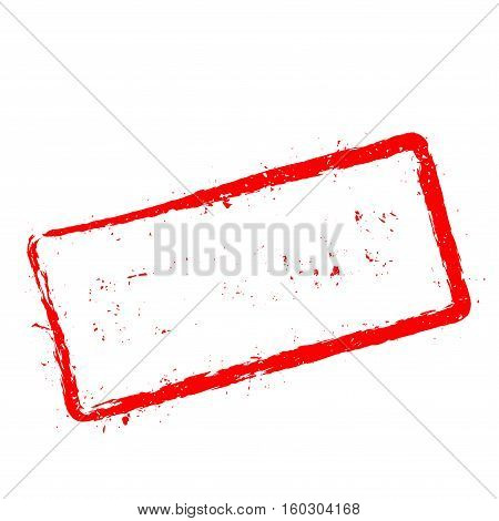 Retained Red Rubber Stamp Isolated On White Background. Grunge Rectangular Seal With Text, Ink Textu