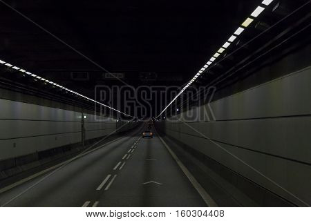 ORESUND, DENMARK - JUNE 29, 2016: This is the tunnel of Oresund crossing on the island Poberholm.
