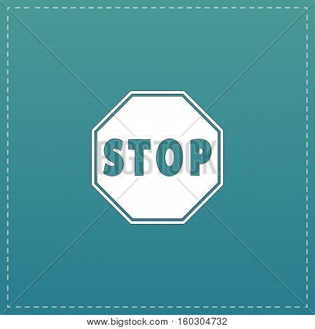 Stop. White flat icon with black stroke on blue background