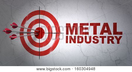 Success Manufacuring concept: arrows hitting the center of target, Red Metal Industry on wall background, 3D rendering