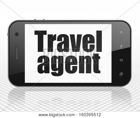 Tourism concept: Smartphone with black text Travel Agent on display, 3D rendering