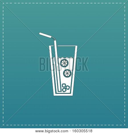 Ice drink with straw. White flat icon with black stroke on blue background