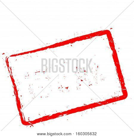 Ideal Red Rubber Stamp Isolated On White Background. Grunge Rectangular Seal With Text, Ink Texture