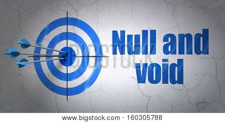 Success law concept: arrows hitting the center of target, Blue Null And Void on wall background, 3D rendering