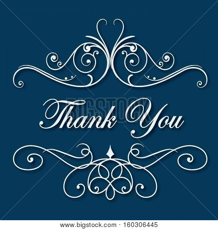 Elegant thank you card lettering text logo vetor stock