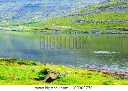 Coastline And Landscape Along The Isafjordur Fjord