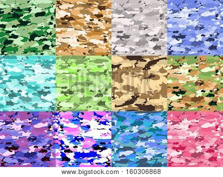 Vector military camouflage patterns set. Hand drawn spots. Can be used for fashion feminine fabric textile design. Seamless