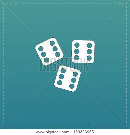 Lucky dices casino gambling game jackpot. White flat icon with black stroke on blue background