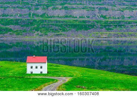 Coastline And Landscape Along The Skotufjordur Fjord