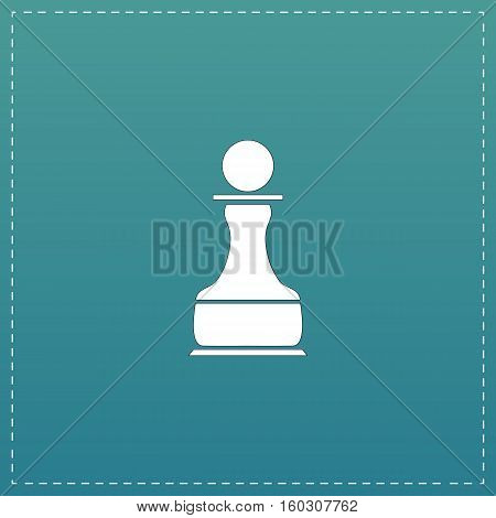 Chess Pawn. White flat icon with black stroke on blue background