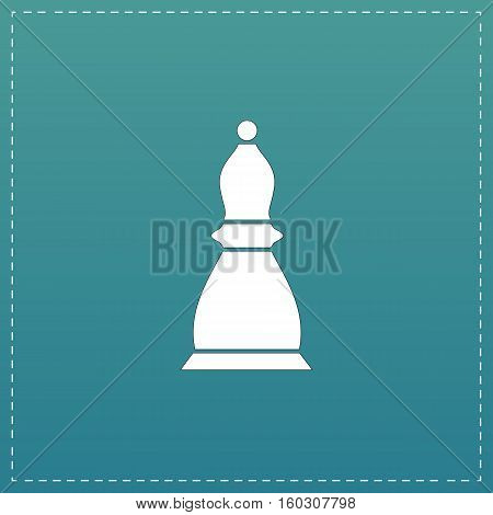 Chess officer. White flat icon with black stroke on blue background
