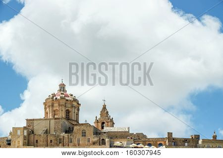 view of buildings in Mdina city Malta