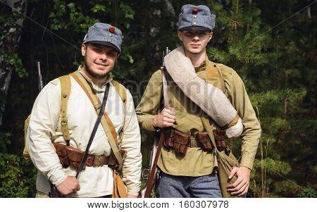 TAVATUI SVERDLOVSK OBLAST RUSSIA - AUGUST 20 2016: Historical reenactment of Russian Civil war in the Urals in 1918. Austrian soldiers